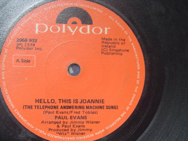 PAUL EVANS - HELLO THIS IS JOANNIE - POLYDOR IRISH